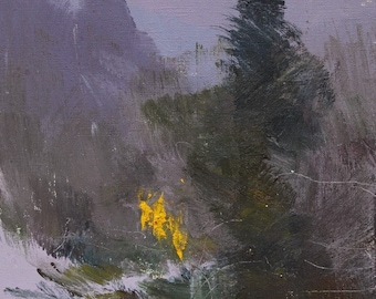 Fine art artwork, Abstract painting,  Modern landscape art, Small oil painting, Plein air, Winter in mountains