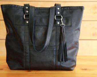 Business Tote Black Leather Tote  Shoulder Bag Lined Purse