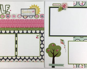 Pre-made Spring Scrapbook Page Layout 2 pages 12x12 Home Friends Family Everyday