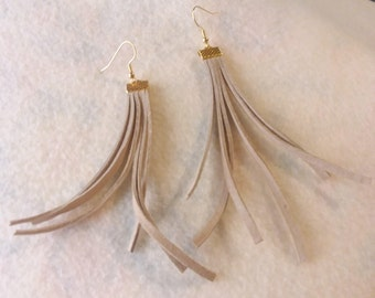 Tan Leather Fringe Earrings