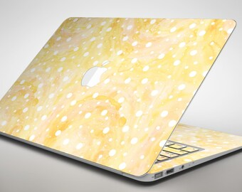 White Polka Dots Over Yellow Orange Grunge  - Apple MacBook Air or Pro Skin Decal Kit (All Versions Available)
