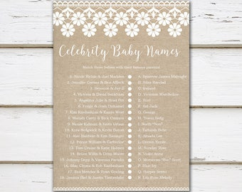 Printable Baby Shower Game, Celebrity Baby Names, Celebrity Trivia, Baby Shower, Party Games, Burlap & Lace, Digital, MB194