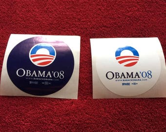 2 (TWO) President Barack Obama : 2008 Campaign Stickers Blue White