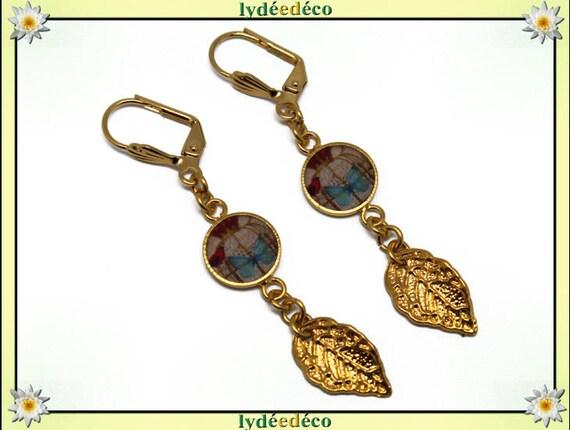 Earrings Golden brass gold 24 carat 24 flight bird Butterfly leaf blue pastel rose tree k resin