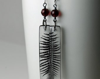 black heart fern resin earrings red bead dangle earrings