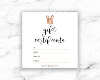 Gift certificate etsy printable rose gold gift certificate template editable photography studio gift card design photoshop template saigontimesfo