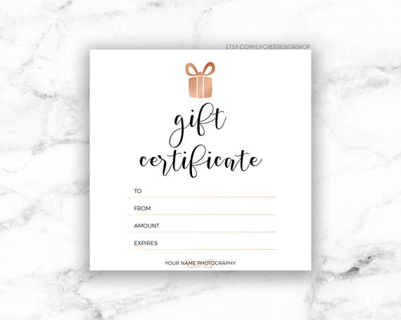 Printable Rose Gold Gift Certificate Template Editable