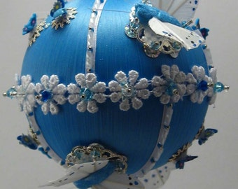 Butterfly Dreams - Cornflower Blue - A Finished Hand Made Beaded Satin Ornament With Crystals