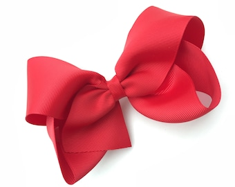 Extra large 6 inch red hair bow - 6 inch hair bow, cheer bow, big bow, red bow, large hair bows, girls hair bows, girls bows, red hair bows
