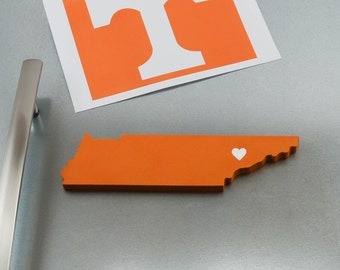 """Tennessee Volunteers """"State Heart"""" Magnet, handcrafted wood with official team colors"""