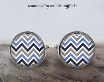 Chevron Design Stainless Cufflinks - 18mm - Quality Cufflinks - Prom, Wedding, Birthday Gift - Chevron Jewelry - Great Gift Idea - Gift Box