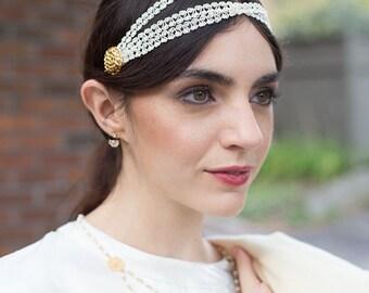 Medici bridal Headpiece -  Grecian off white trim 18k chain cabochon - 20s headdress renaissance reign MADE TO MEASURE - 1920s  flapper