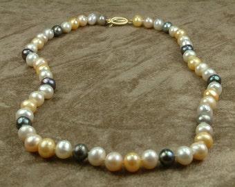 Multicolor Pearl Necklace 8.5 - 9 mm