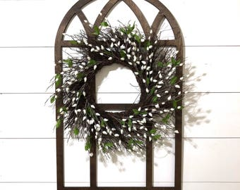 Wood Cathedral Window Frame, Wood Window Frame Wreath Hanger