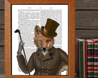 Fox Print - The Bounder - Fox Art Print fox illustration fox poster fox decor woodland animal woodland creature steampunk fox Groomsmen gift
