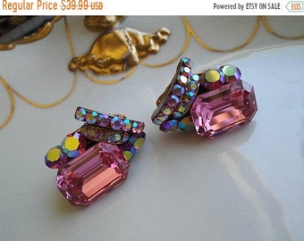 ON SALE Vintage Pink Rhinestone Earrings * Old Hollywood Glam * Retro Rockabilly  * Statement Jewelry
