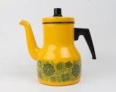Kaj Franck Arabia Finel line enamel Yellow Coffepot / Kettlel with green flowers - Finland mid century
