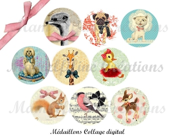 """Digital collage sheet circles animals, digital images """"Sweet Animals"""", one inch circle, bottlecap,digital rounds, instant download"""