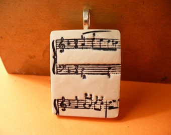 Music Notes Pendant, Optional Chain, Music Pin Brooch, Musician Jewelry Piano Player Gift, Choir Director Gift, black and white polymer clay