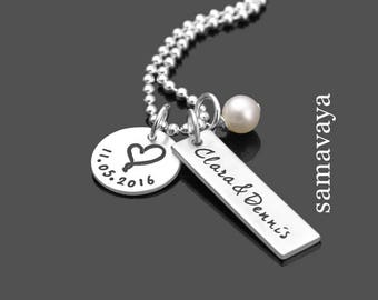 Engagement Gift true love 925 silver necklace with engraving to the wedding partner chain