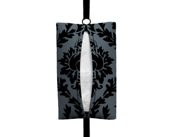 Auto Sneeze - Damask - Visor Tissue Case/Cozy - Car Accessory Automobile - Dark Grey Black Floral