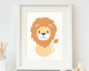 Lion Nursery Wall Art, Animal Nursery Art, Baby Boy Nursery Wall Art, Nursery Animal Art, Printable Nursery Decor,Instant Download Baby Gift