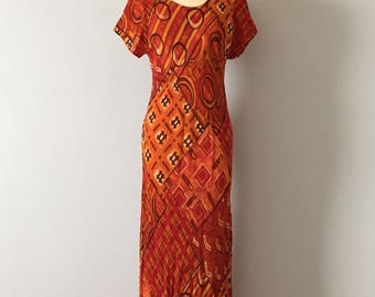 1990s hashtag dress || cinnamon and paprika red maxi || ethnic print artist dress