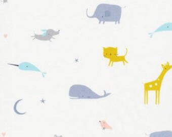 "Fabric Remnant - Animal Parade in White - Tout Petite Collection - Cloud 9 Organics - 50""x11"""