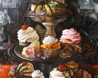 Original Art Prints of Original Cupcake and Spiders Oil Painting