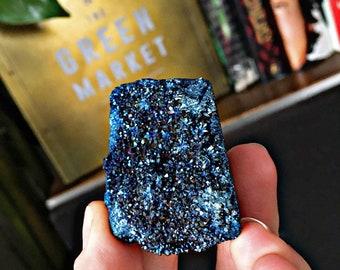 Cobalt Blue Aura Quartz Druzy, Titanium Crystal Cluster, Pagan Altar Supplies, Chakra, Reiki Healing