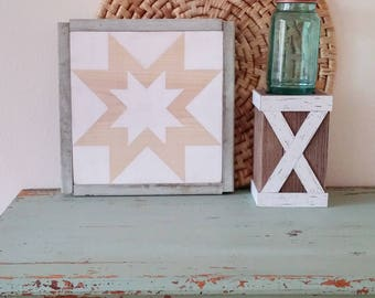 Natural White Rising Star Barn Quilt-12""