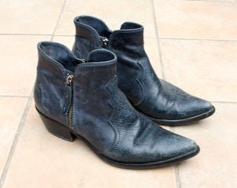 Vintage Dark Blue Leather Cowboy Boots