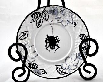 Decorative Saucer  - Inked Original Art - Spider - Vintage Mikasa Plate - Dark Home Decor - Gothic Gifts