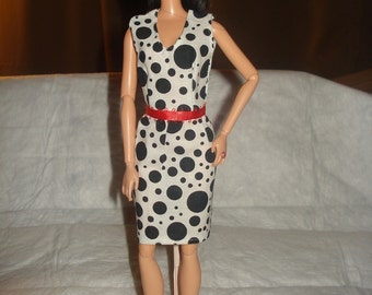 Dalmation spottted black & white dress with red belt for Fashion Dolls - ed550