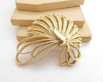 Vintage Large Light Yellow Gold Abstract Modernist Deco Fan Brooch Pin OO40
