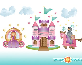 Princess Wall Decal,  Wall Stickers, Princess Theme Nursery Decor, Wall Decals for Girls - Sunny Decals