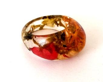 IDSM, bohemian resin ring, friendship ring, flower ring, finger ring, Moosring, Auroraring, Violet rose, resin jewelry