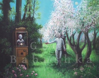 The Automaton Magician and His Rabbit Assistant, Original Painting, Fortune Teller, Forest, Spring, Costume, Mystic, Dark, Game, Machine