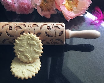 FLAMINGOS, rolling pin, embossing rolling pin, engraved rolling pin by laser