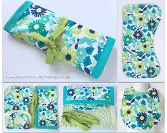Teal and Chartreuse Travel Set Watercolor Floral Bib, Burp Cloth & Changing Pad / Girl Floral Bib, Burp Cloth and Changing Pad Travel Set