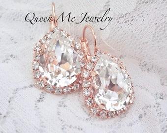 Rose gold crystal earrings Halo crystal earrings Swarovski Brides Bridesmaids Bridal Wedding earrings Rose gold wedding Jewelry SOPHIA