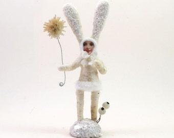 Vintage Inspired Spun Cotton White Snow Bunny Child Figure (MADE TO ORDER)