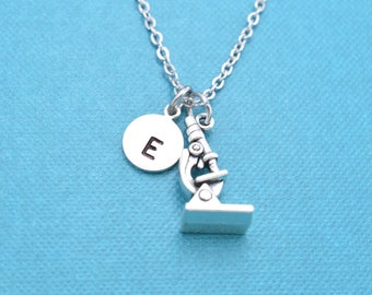 Microscope Necklace, Microscope jewelry, Science jewelry, personalized gift, personalized necklace, monogram necklace, initial necklace.