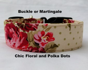 Chic Floral and Polka Dots-Choose Buckle or Martingale Dog Collar-Small-Large Breed Dog-1 inch 1.5 -2 inch width-Traffic-Dog Leash