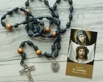 St. Veronica Twine Knotted Rosary with medal and prayer card