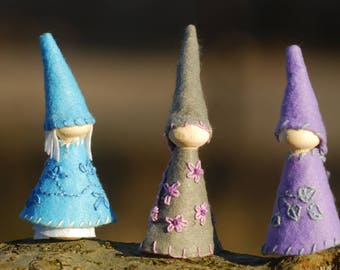 Flower gnomes Set of three, violet blue gray waldorf gnomes, handmade natural toys, nature table set, peg dolls