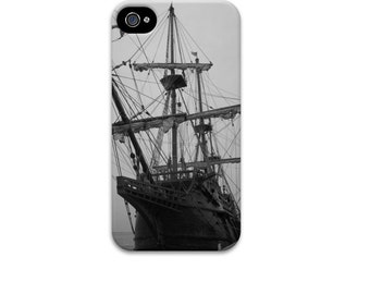 Pirate Ship iphone 6 case, Black and White iphone 5 case, Spanish Galleon ship, nautical iphone case, mens iphone case, iphone se case