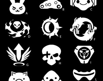Overwatch Ultimates Vinyl Sticker - D.VA, Bastion, Lucio, Reaper, Junkrat, Hanzo, Mercy, McCree, Tracer, Roadhog, Widowmaker, Soldier 76