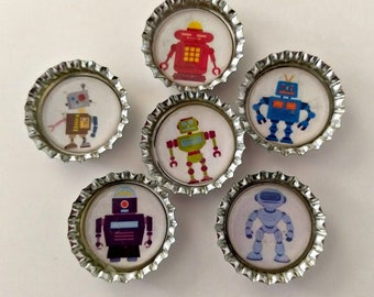 Robots Magnets Set, Refrigerator Magnets, Kitchen Magnets, Set of Six