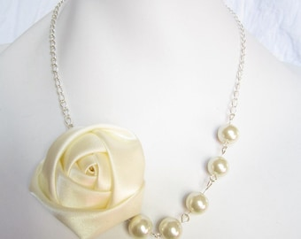 Silk Ribbon Fabric Rosette Flower Necklace,Color Ivory Necklace,Pearl Necklace,Party Bridesmaid Necklace,Love Gift